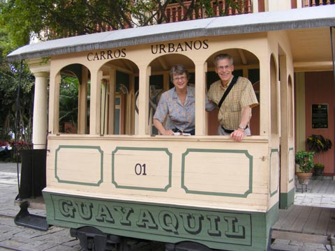 Gail and Al in an old street car at the Parque Hist&#243rico Guayaquil